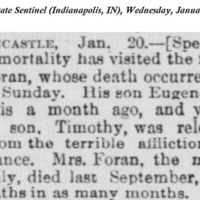 John Forhan's Death Notice and Notice of Family Deaths in the<em> Indiana State Sentinel</em>